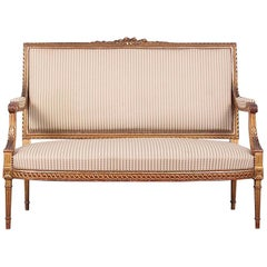 French Louis XVI Style Carved and Gilt Settee