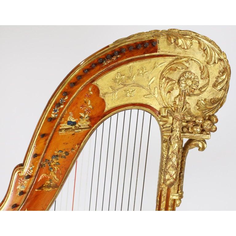 French Louis XVI Carved Gilt & Vernis Martin Harp by Jean-Henri Naderman, Paris For Sale 4