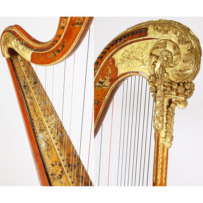 French Louis XVI Carved Gilt & Vernis Martin Harp by Jean-Henri Naderman, Paris For Sale 5