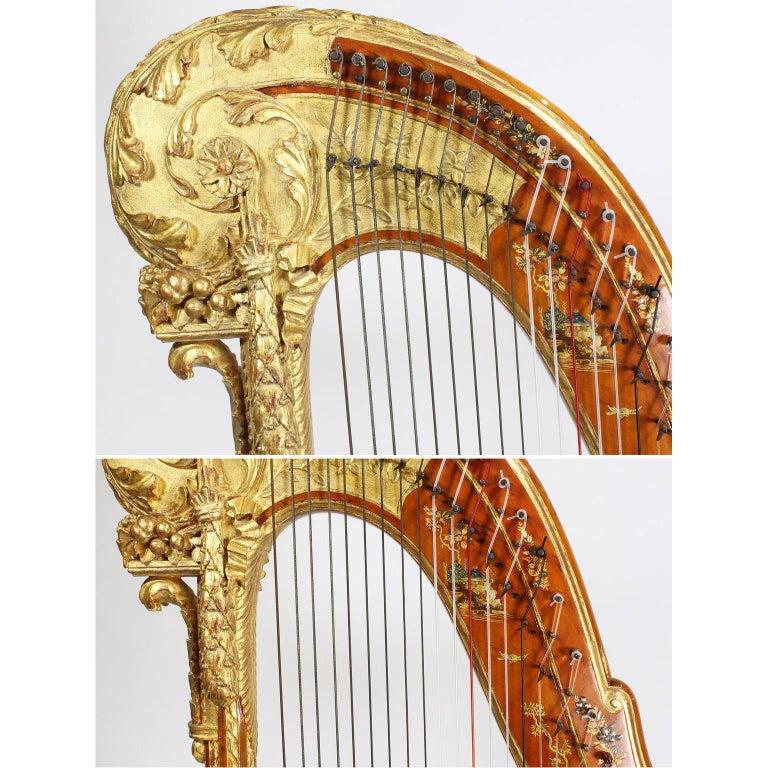 French Louis XVI Carved Gilt & Vernis Martin Harp by Jean-Henri Naderman, Paris For Sale 6