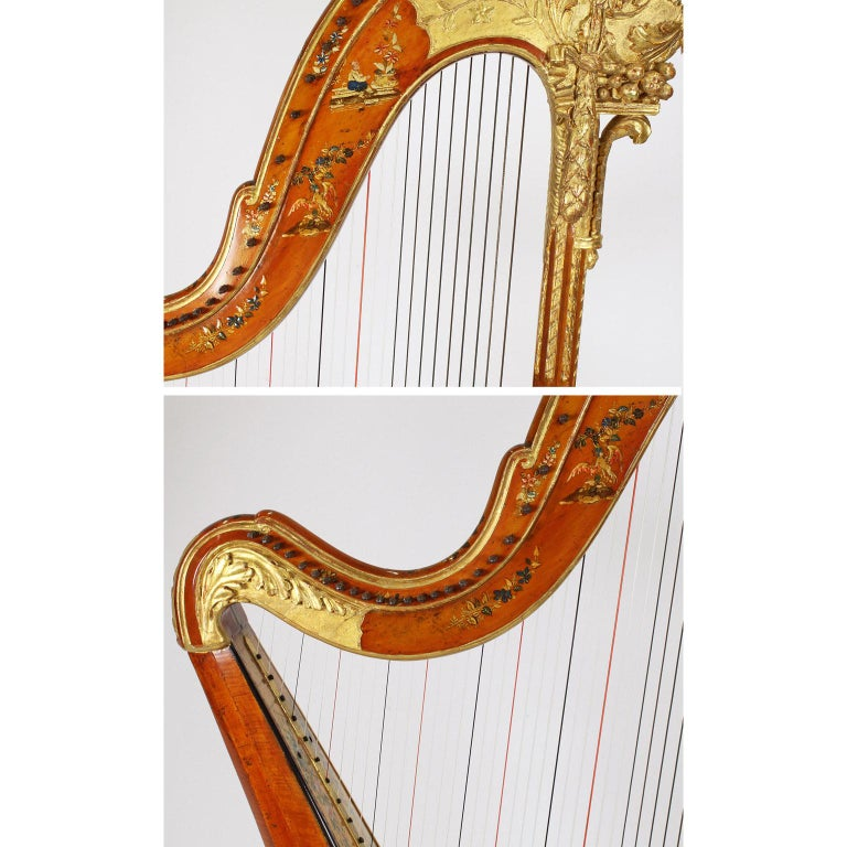French Louis XVI Carved Gilt & Vernis Martin Harp by Jean-Henri Naderman, Paris For Sale 7
