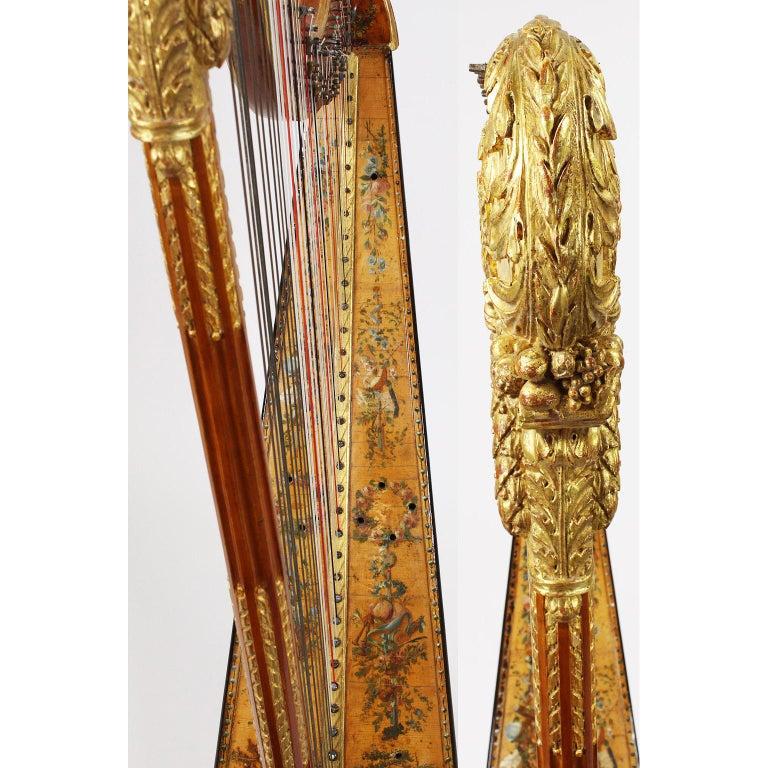 French Louis XVI Carved Gilt & Vernis Martin Harp by Jean-Henri Naderman, Paris For Sale 8