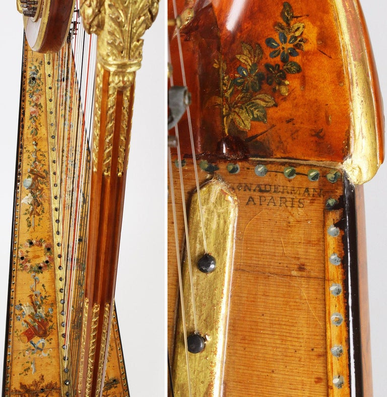 French Louis XVI Carved Gilt & Vernis Martin Harp by Jean-Henri Naderman, Paris For Sale 9