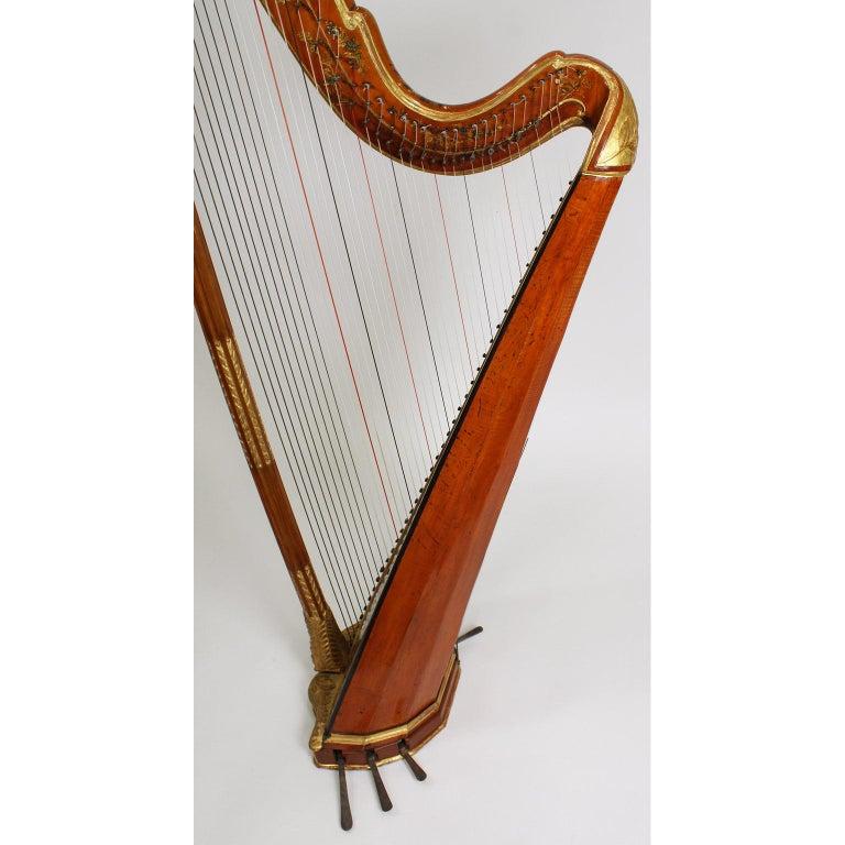 French Louis XVI Carved Gilt & Vernis Martin Harp by Jean-Henri Naderman, Paris For Sale 10