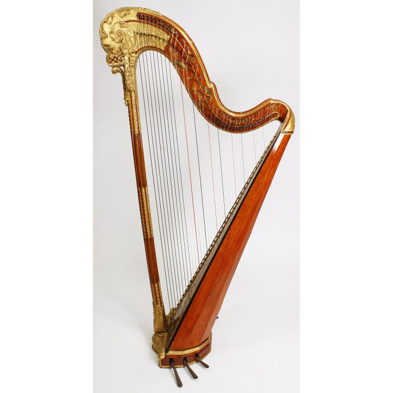 Hand-Painted French Louis XVI Carved Gilt & Vernis Martin Harp by Jean-Henri Naderman, Paris For Sale