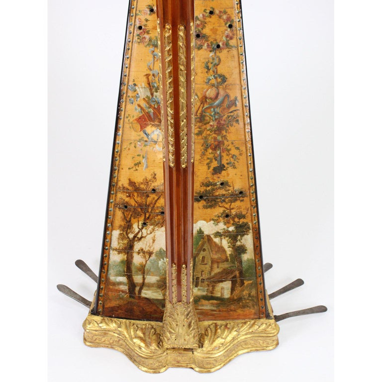 French Louis XVI Carved Gilt & Vernis Martin Harp by Jean-Henri Naderman, Paris In Fair Condition For Sale In Los Angeles, CA