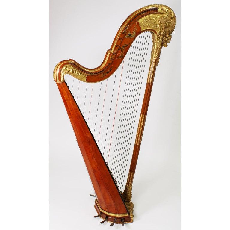 French Louis XVI Carved Gilt & Vernis Martin Harp by Jean-Henri Naderman, Paris For Sale 1