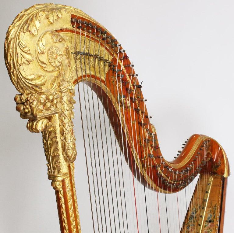 French Louis XVI Carved Gilt & Vernis Martin Harp by Jean-Henri Naderman, Paris For Sale 2