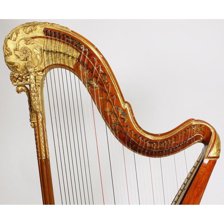 French Louis XVI Carved Gilt & Vernis Martin Harp by Jean-Henri Naderman, Paris For Sale 3