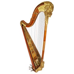 French Louis XVI Carved Gilt & Vernis Martin Harp by Jean-Henri Naderman, Paris