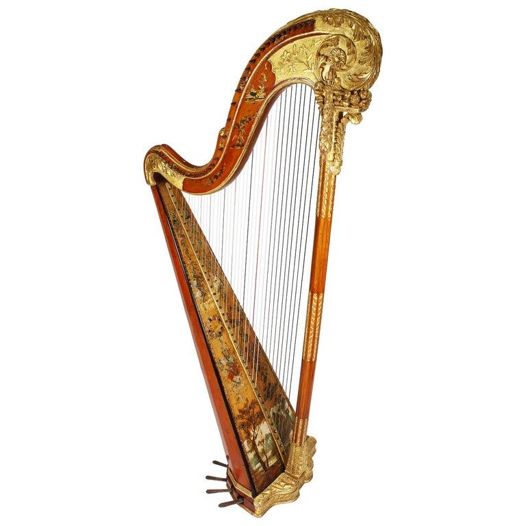 French Louis XVI Carved Gilt & Vernis Martin Harp by Jean-Henri Naderman, Paris For Sale