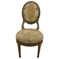French Louis XVI Child's Chair with Original Aubusson Upholstery, circa 1890