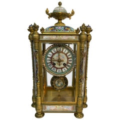 French Louis XVI Cloisonné Bronze Sevres Style Mantel Clock