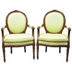 French Louis XVI Country Oval Medallion Back Green Fauteuil Armchairs, a Pair