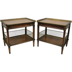 French Louis XVI Directoire Maison Jansen Style Oversize Walnut End Tables, Pair