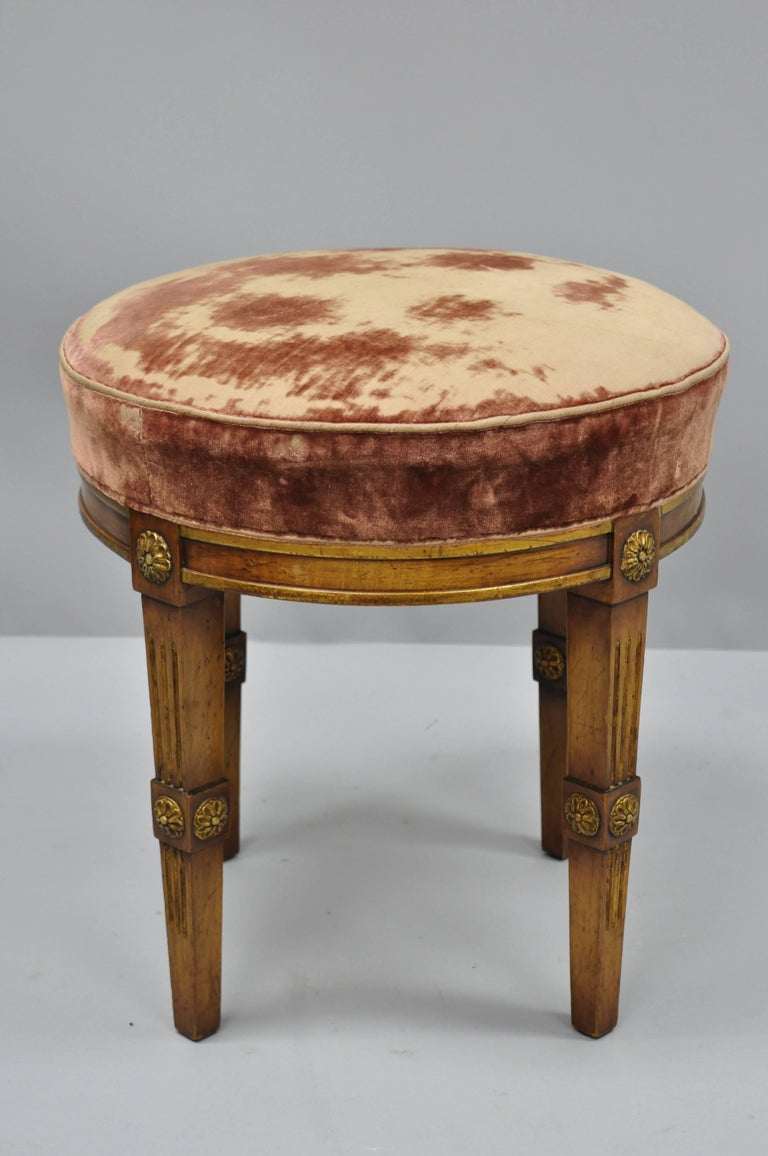 Magnificent French Louis Xvi Directoire Style Round Neoclassical Upholstered Vanity Stool Caraccident5 Cool Chair Designs And Ideas Caraccident5Info