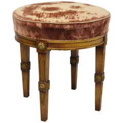 French Louis XVI Directoire Style Round Neoclassical Upholstered Vanity Stool