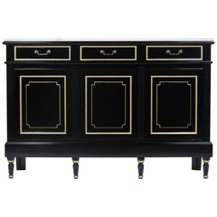 French Louis XVI Ebonized Marble Top Buffet