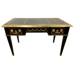 French Louis XVI Ebony Leather Top and Bronze Mounted Writing Desk