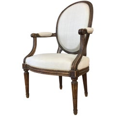 French Louis XVI Fauteuil by Martin Jullien, Mid-18th Century