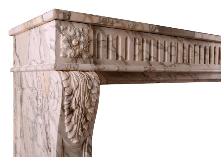 French Louis XVI Fireplace in Serravezza Breccia Marble In Excellent Condition For Sale In London, GB