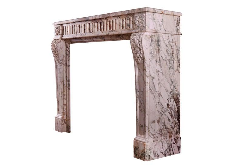 18th Century French Louis XVI Fireplace in Serravezza Breccia Marble For Sale
