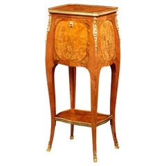 French Louis XVI Floral Marquetry Side Table