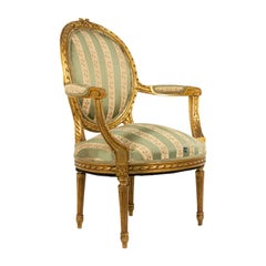 French Louis XVI Gilt Armchair