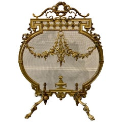 French Louis XVI Gilt Bronze Fire Screen