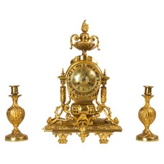 French Louis XVI Gilt Clock Set by Japy Fréres, 1880s