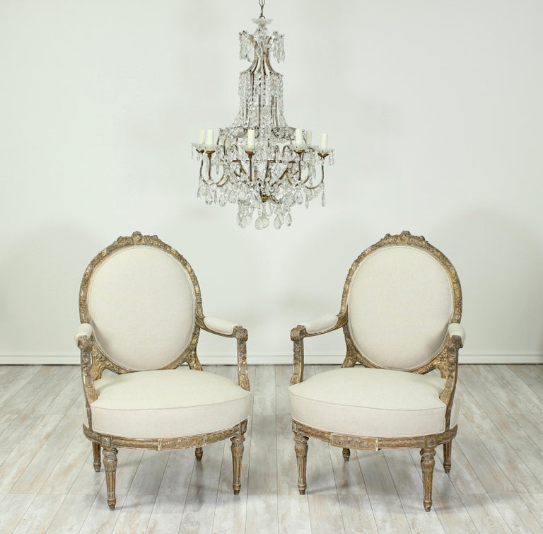 French Louis XVI Giltwood Chairs, a Pair In Good Condition For Sale In Los Angeles, CA