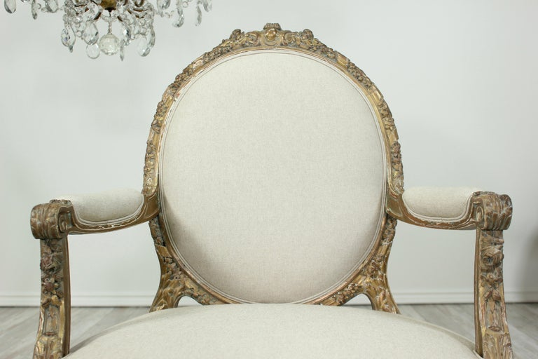 French Louis XVI Giltwood Chairs, a Pair For Sale 2