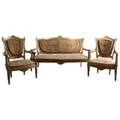 French Louis XVI Giltwood Salon Suite for Re-Upholstery