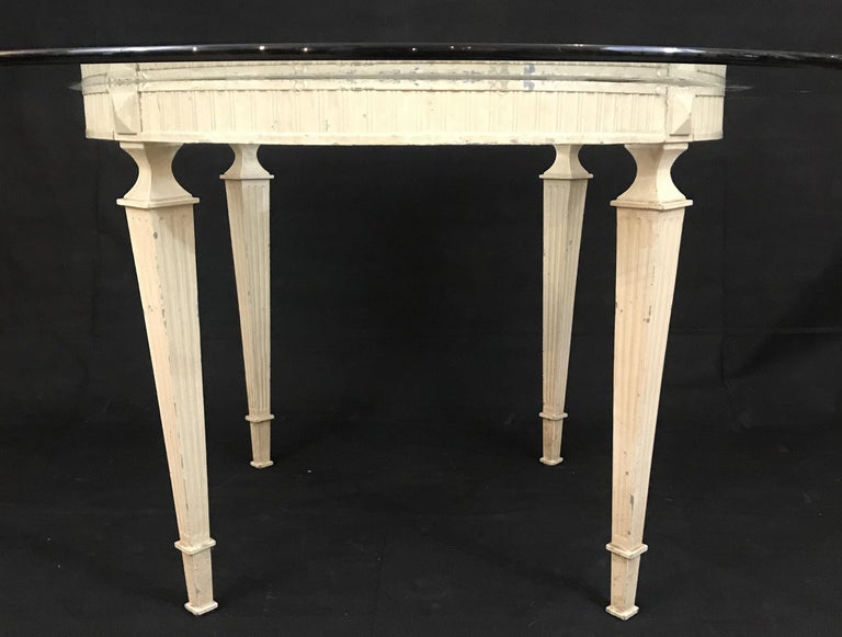 French Louis XVI Glass Top Round Indoor or Outdoor Table In Good Condition For Sale In Hopewell, NJ