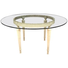 French Louis XVI Glass Top Round Indoor or Outdoor Table