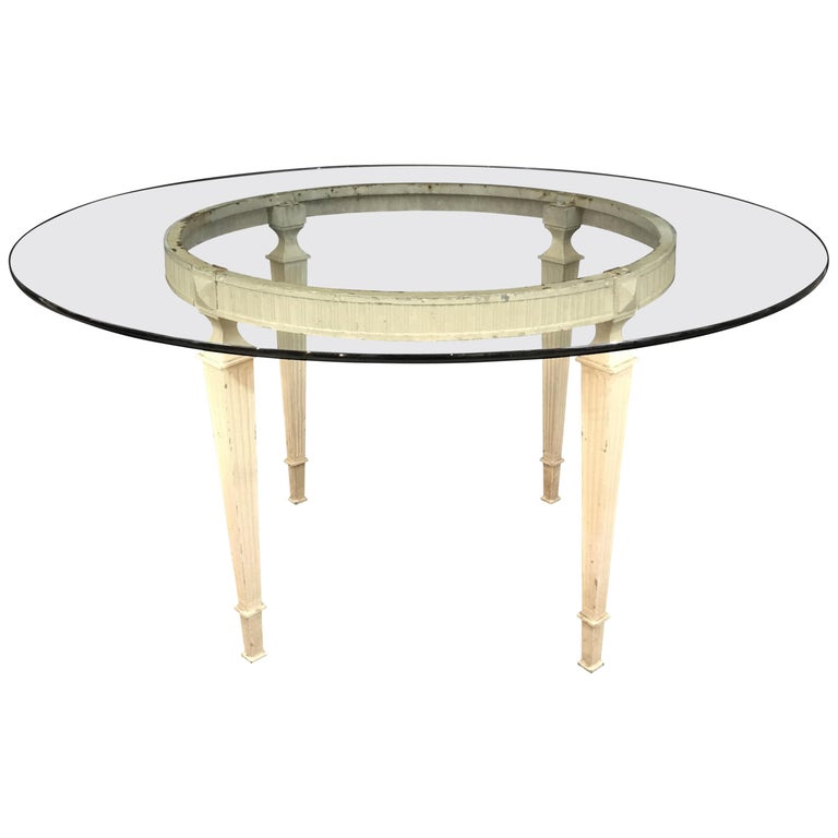 French Louis XVI Glass Top Round Indoor or Outdoor Table For Sale
