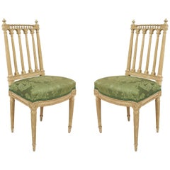 French Louis XVI Green Damask Side Chairs