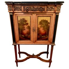 French Louis XVI Hand Painted Marble-Top Cabinet with Bronze & Paintings Art Bar