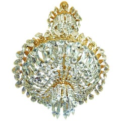 French Louis XVI Hollywood Regency Empire Basket Gilt Bronze Crystal Chandelier