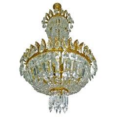 French Louis XVI Hollywood Regency Empire Basket Gilt Bronze Crystal Chandelier