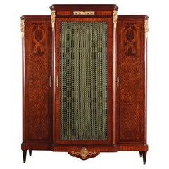 French Louis XVI Inlaid Mahogany Breakfront Bookcase, circa 1900
