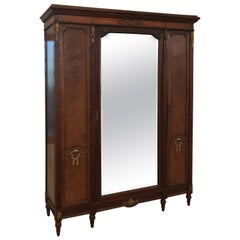 French Louis XVI Inlaid Parquetry and Ormolu Mirrored Armoire, circa 1900