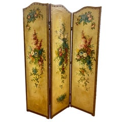 French Louis XVI Leather and Hand Painted Three Panel Screen Expandable