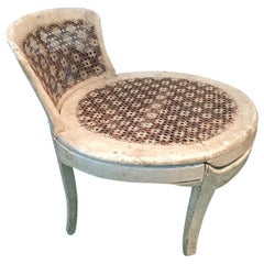 French Louis XVI Low Caned Fireside Slipper Chair, 18th Century