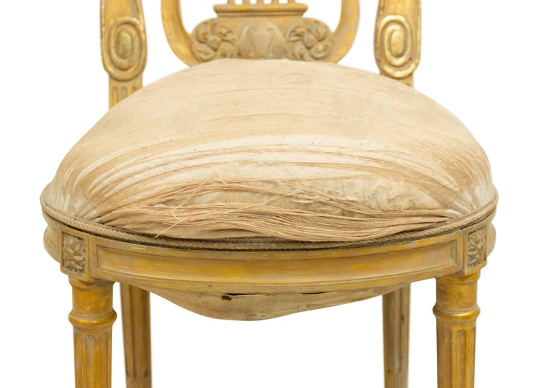 Upholstery French Louis XVI Lyre Side Chairs For Sale