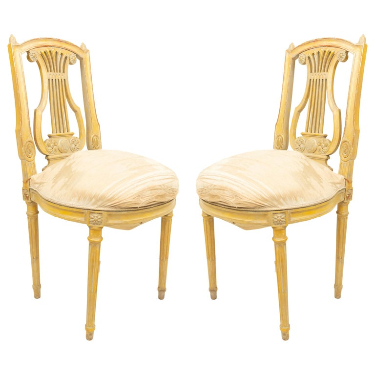 French Louis XVI Lyre Side Chairs For Sale