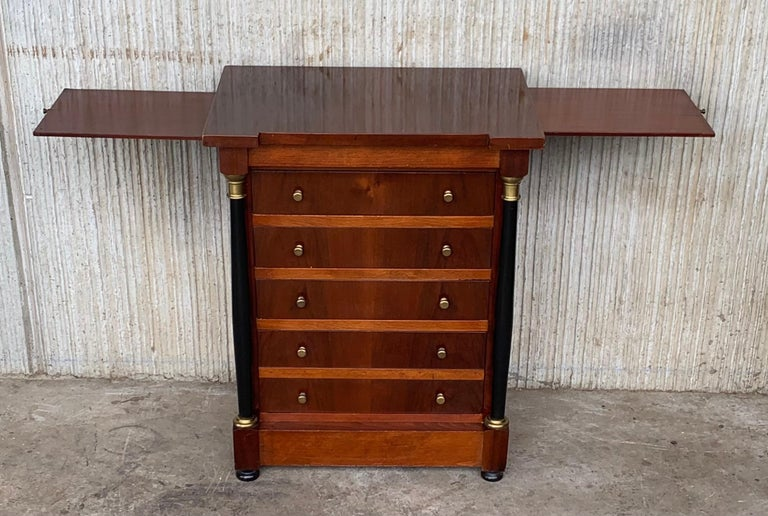Walnut French Louis XVI Mahogany Nightstands Tables with Black Ebonized Columns For Sale