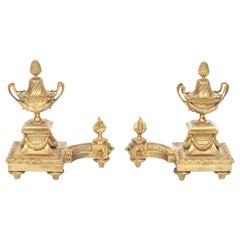 French Louis XVI Manner Gilt Bronze Chenets