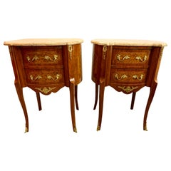 French Louis XVI Marble-Top and Bronze Ormolu Tables Nightstands Chests