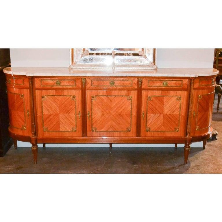 Veneer French Louis XVI Marble-Top Sideboard For Sale